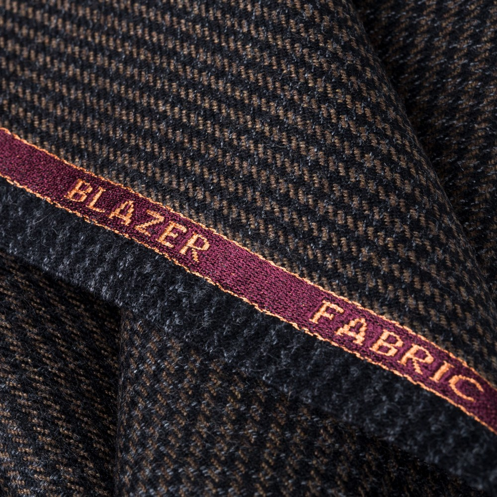 Hickory Brown Houndstooth Worsted Tweed Fabric