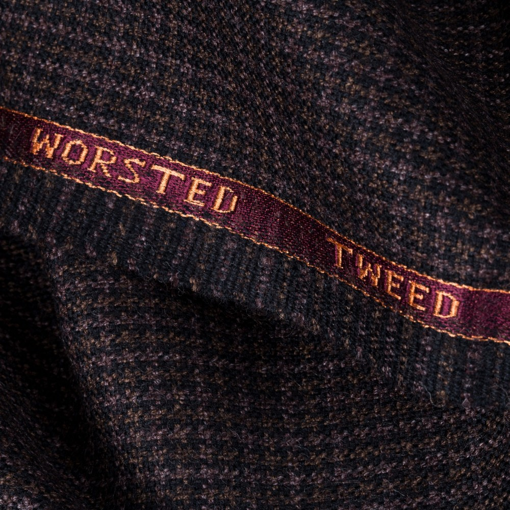 Chocolate Brown Houndstooth Worsted Tweed Fabric