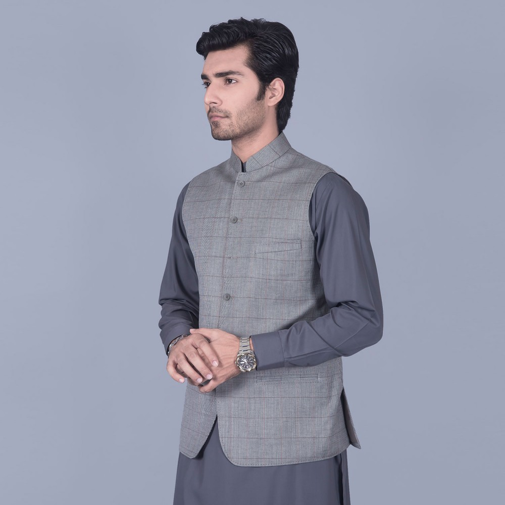 Broad Checks Medium Grey Linwool Waist Coat