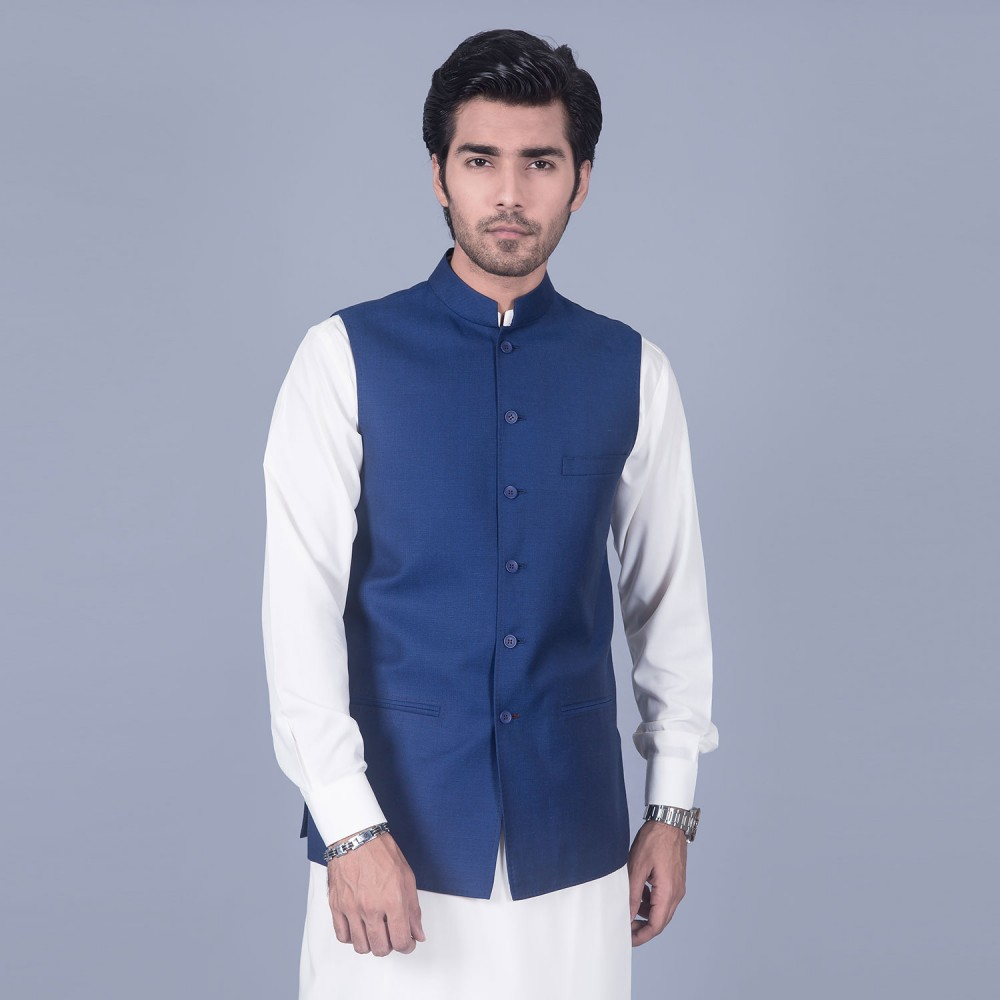 Plain Royal Blue Linwool Waist Coat
