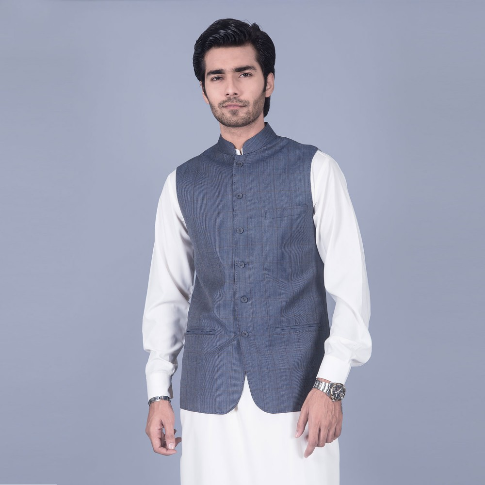 Broad Checks Dark Blue Linwool Waist Coat