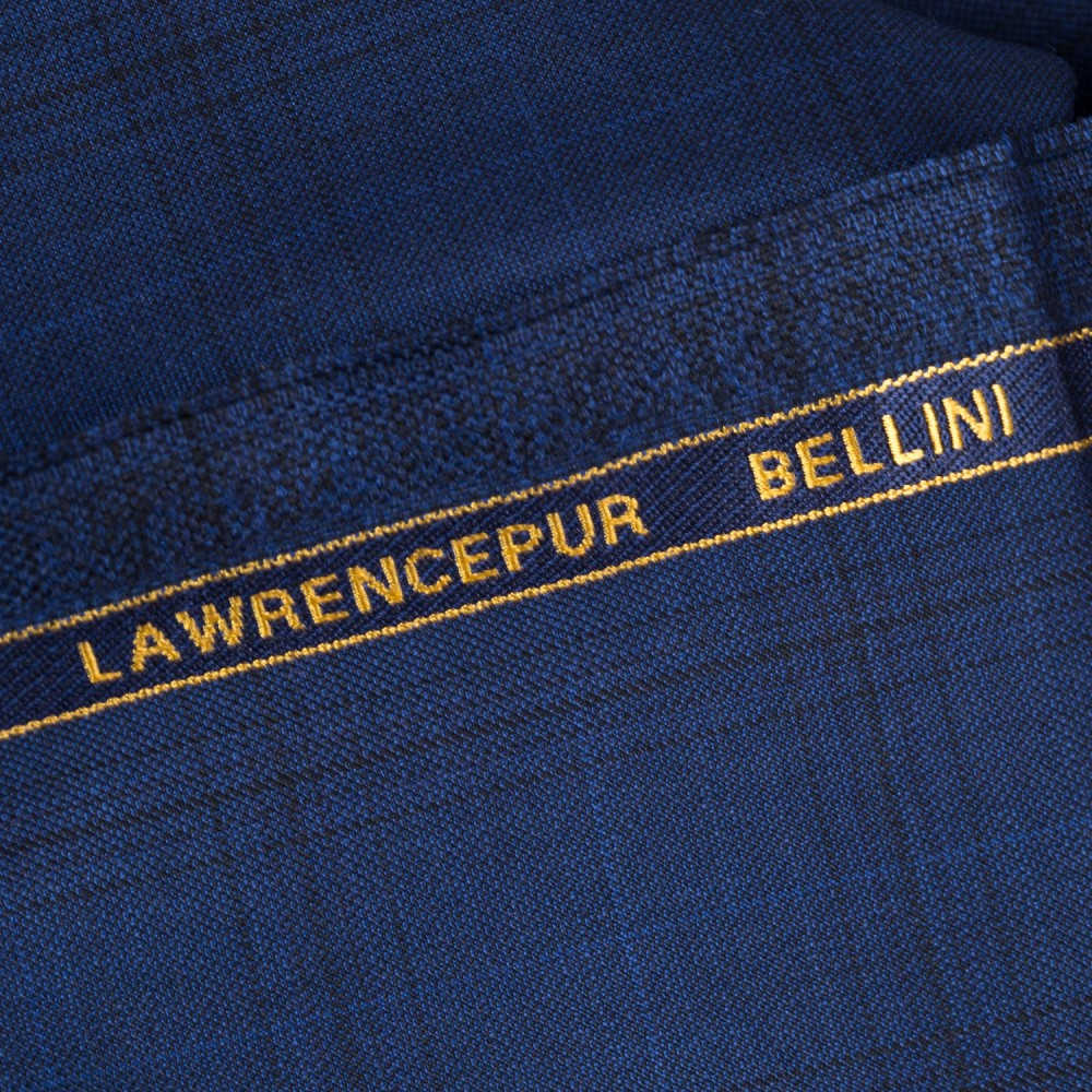 Broad Self-Checks Dark Blue Super 100s, Bellini Suiting Fabric