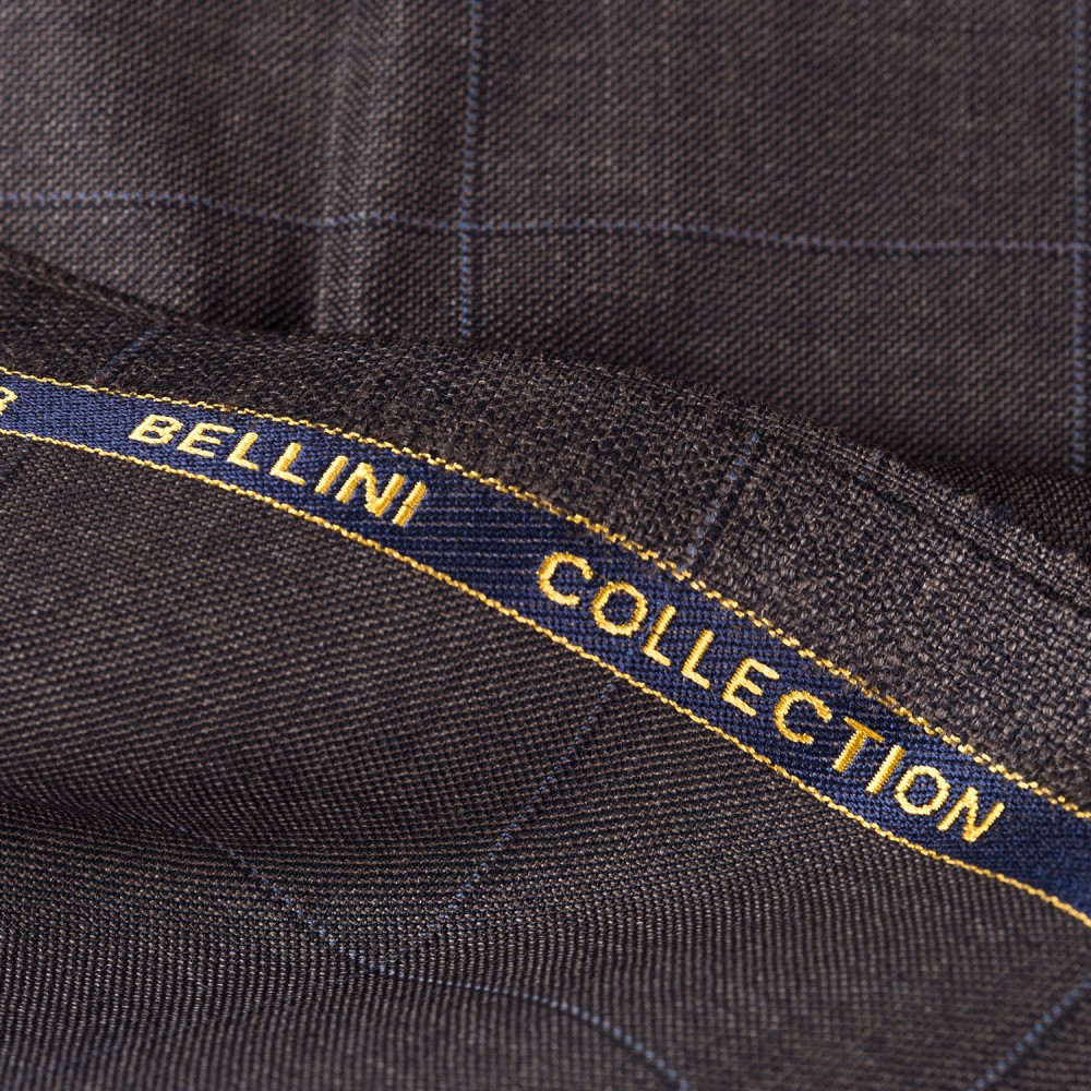 Broad Checks Walnut Brown Super 100s, Bellini Suiting Fabric