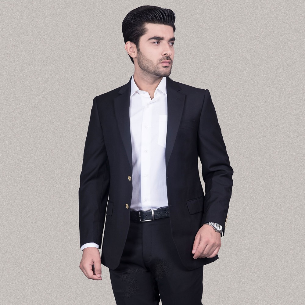 Plain Black Poly Viscose Blazer