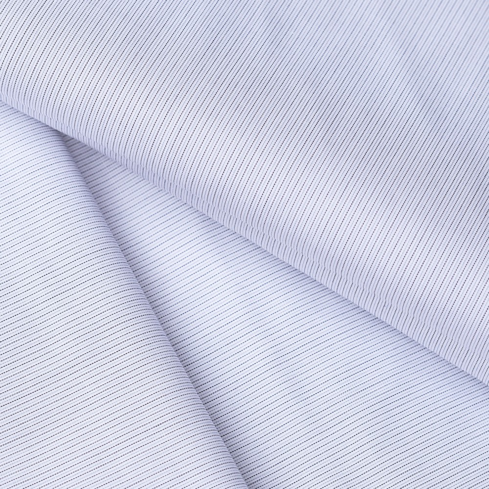 Grey Pin Stripes on White Base, Poly Cotton Shirting Fabric