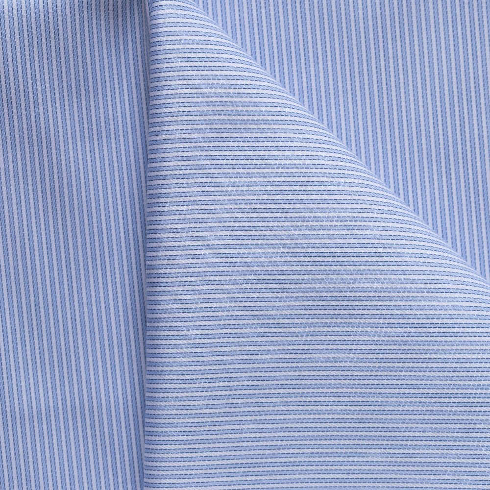 Sky Blue Stripes on White Base, Poly Cotton Shirting Fabric