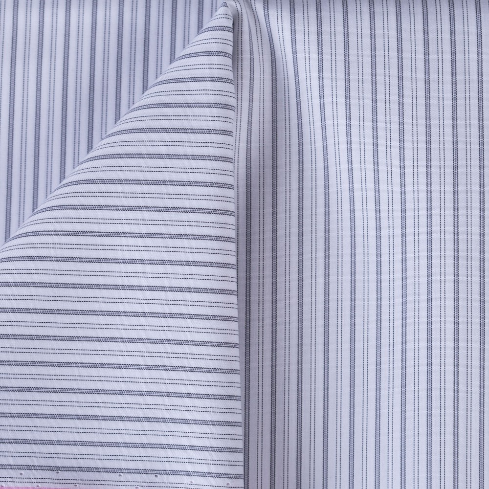 Light Grey Medium Stripes on White Base, Poly Cotton Shirting Fabric