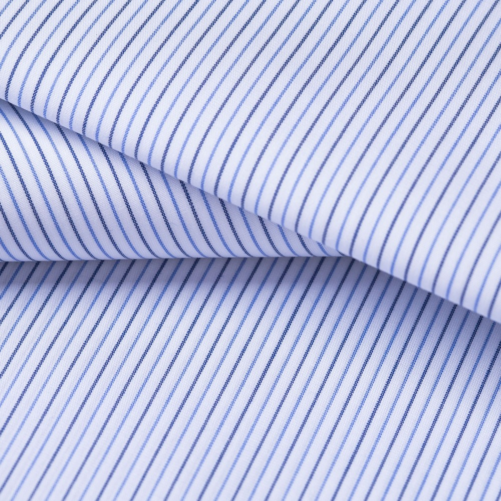 Navy_Blue Multi Stripes on White Base, Poly Cotton Shirting Fabric