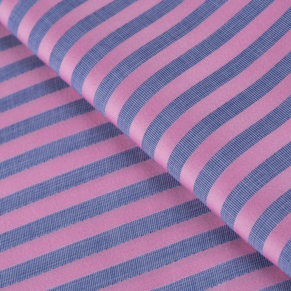 Striped Pink on Grey Base, 100% Super Fine Cotton Shirting Fabric