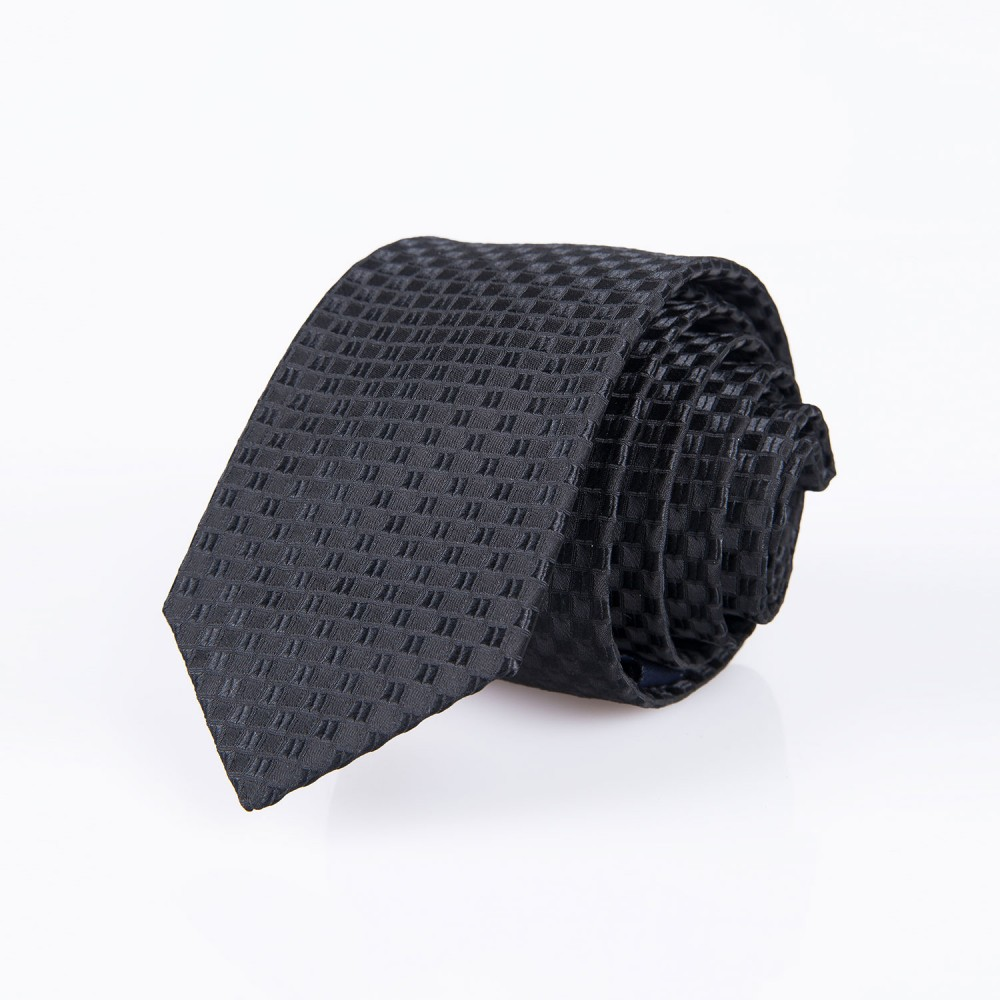 Self-Geometric Pattern, Black Silk Rich Tie