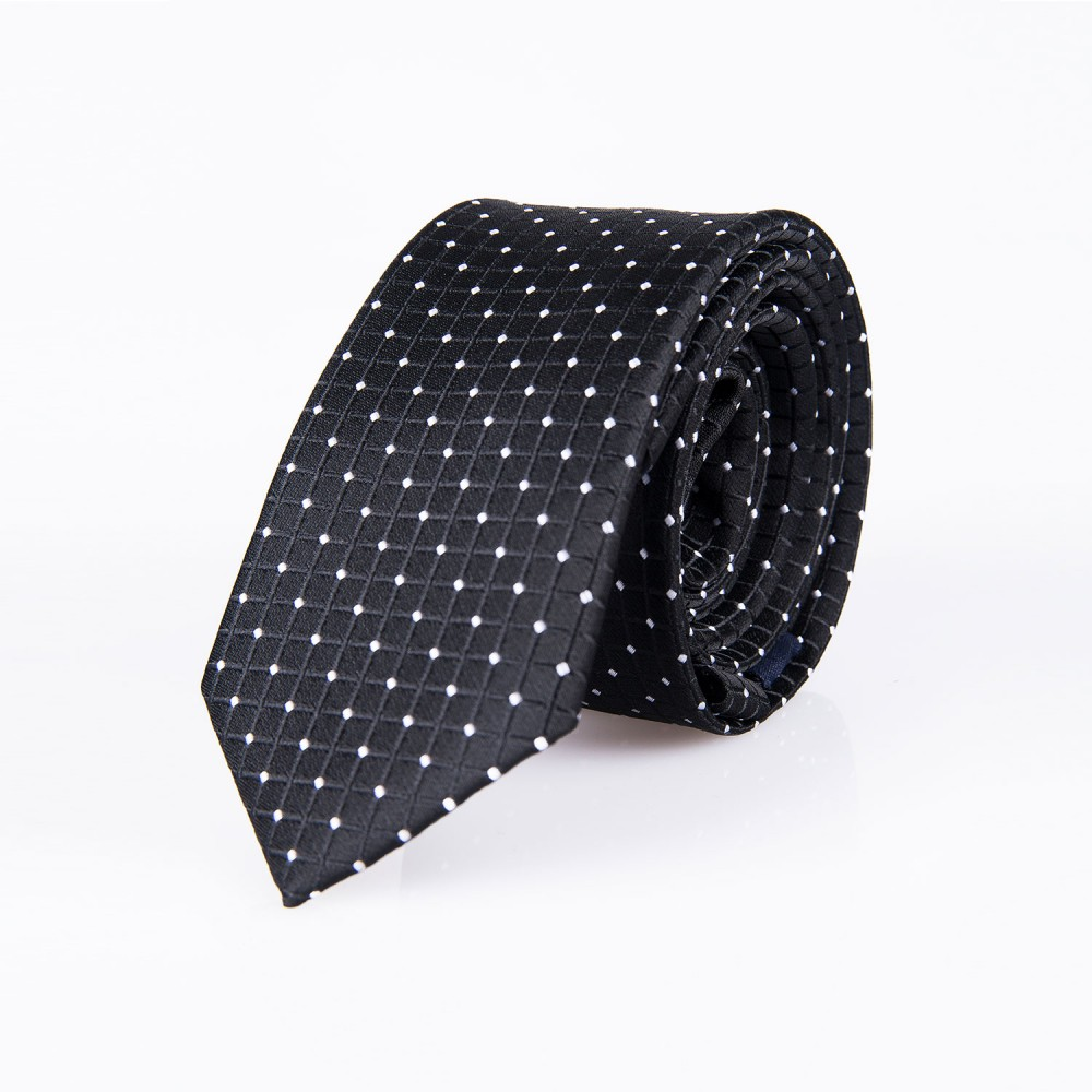 Dots Pattern, Black Pattern Silk Rich Tie