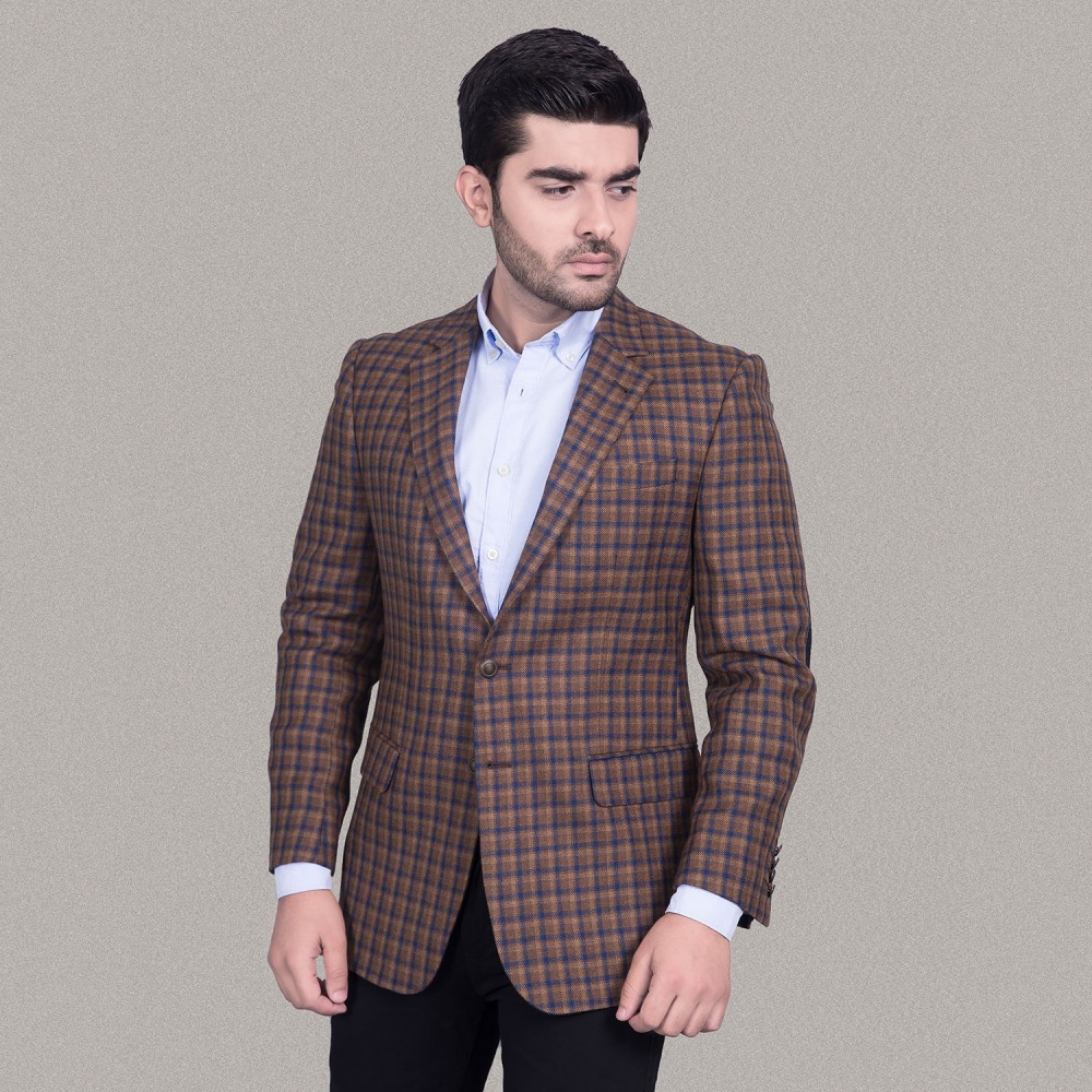 Golden Brown Checks Worsted Tweed Jacket
