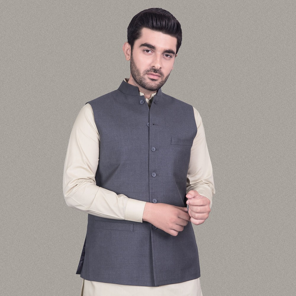 Plain Medium Grey Tropical Exclusive Waist Coat