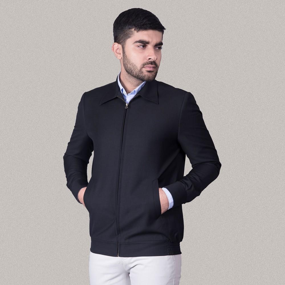 Plain Black Poly Viscose fabric Bomber Jacket (Classic Collar)