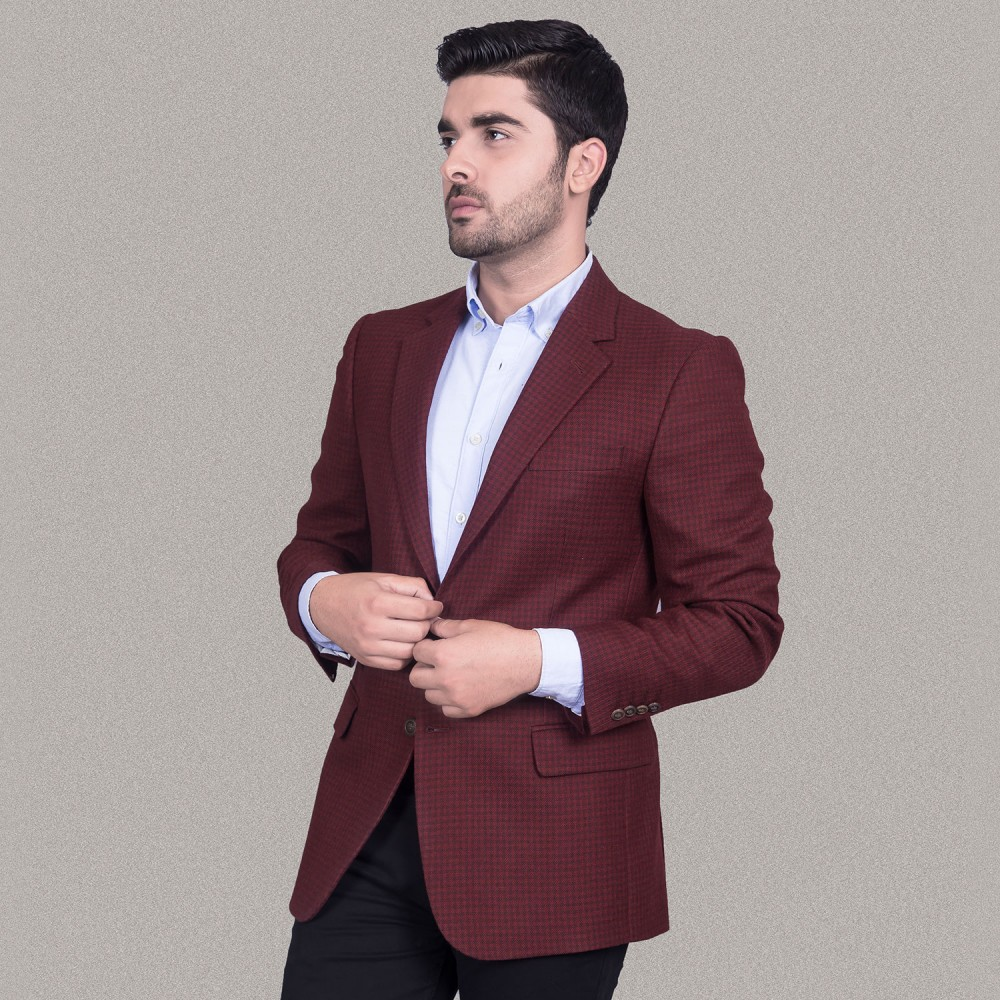 Cherry Red Houndstooth Worsted Tweed Jacket