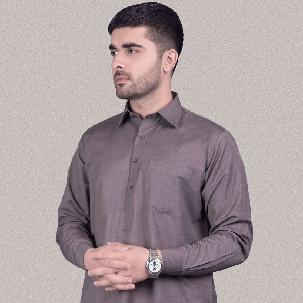Chestnut Brown, End on End Textured, Poly Viscose  Kashgar Shalwar Kameez