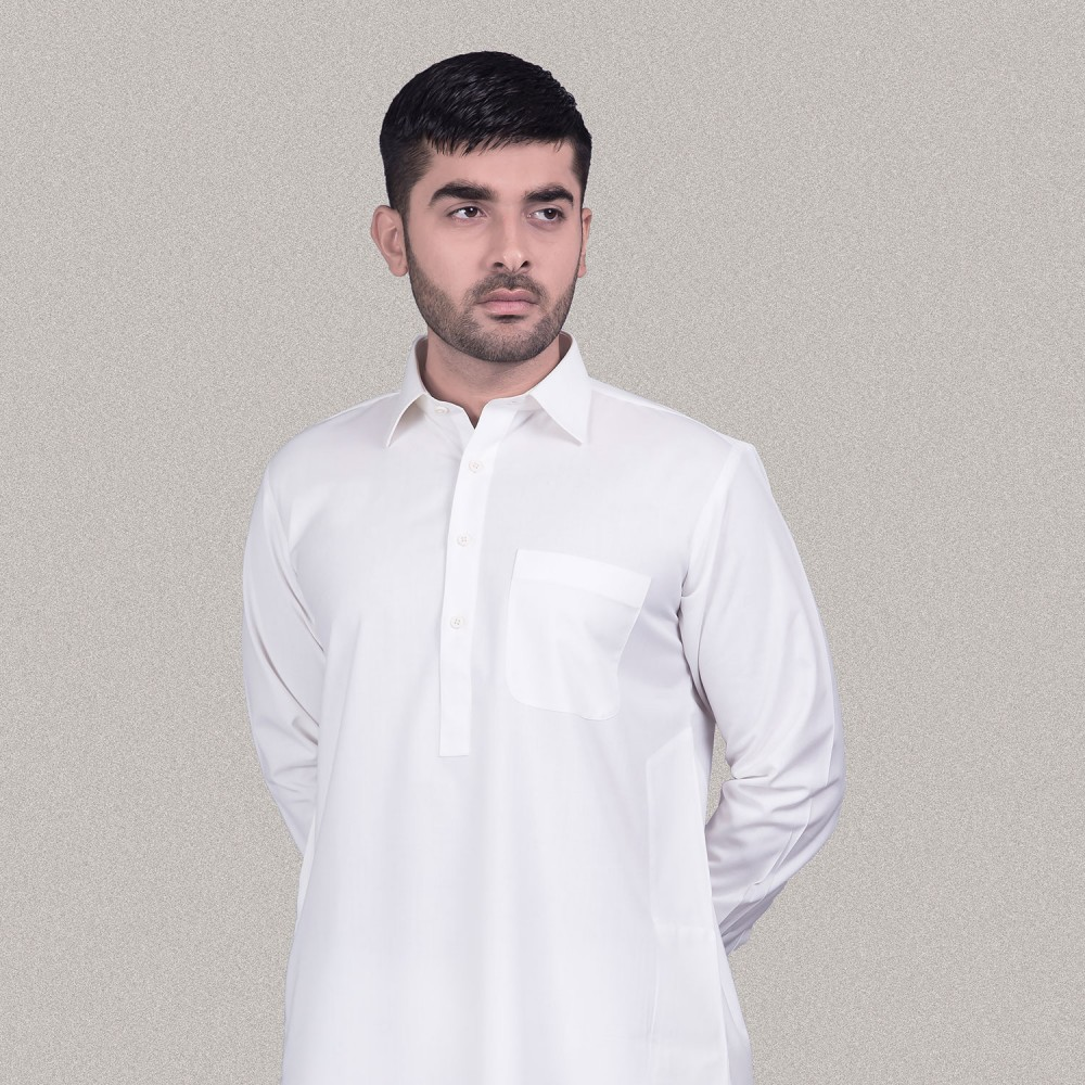 Plain Off White Poly Viscose Kashgar Shalwar Kameez