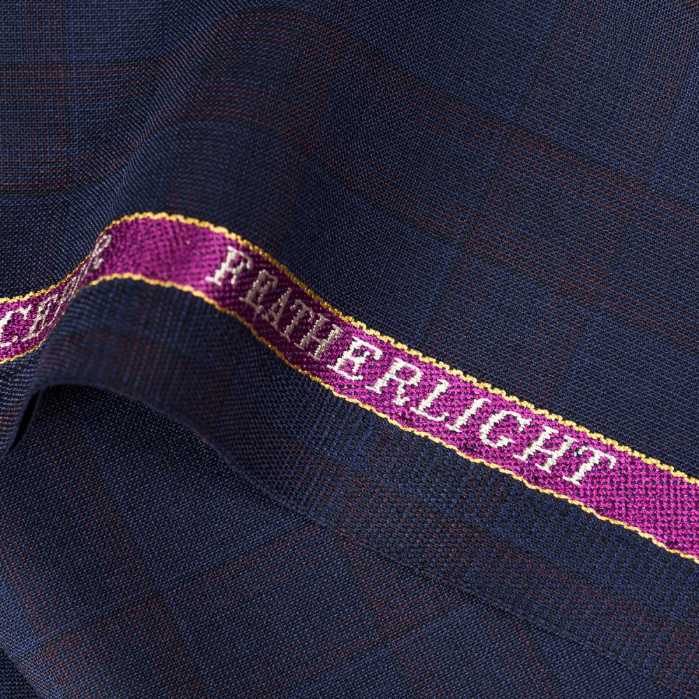 Broad Checks Navy Blue on Barn Red Featherlight Suiting Fabric