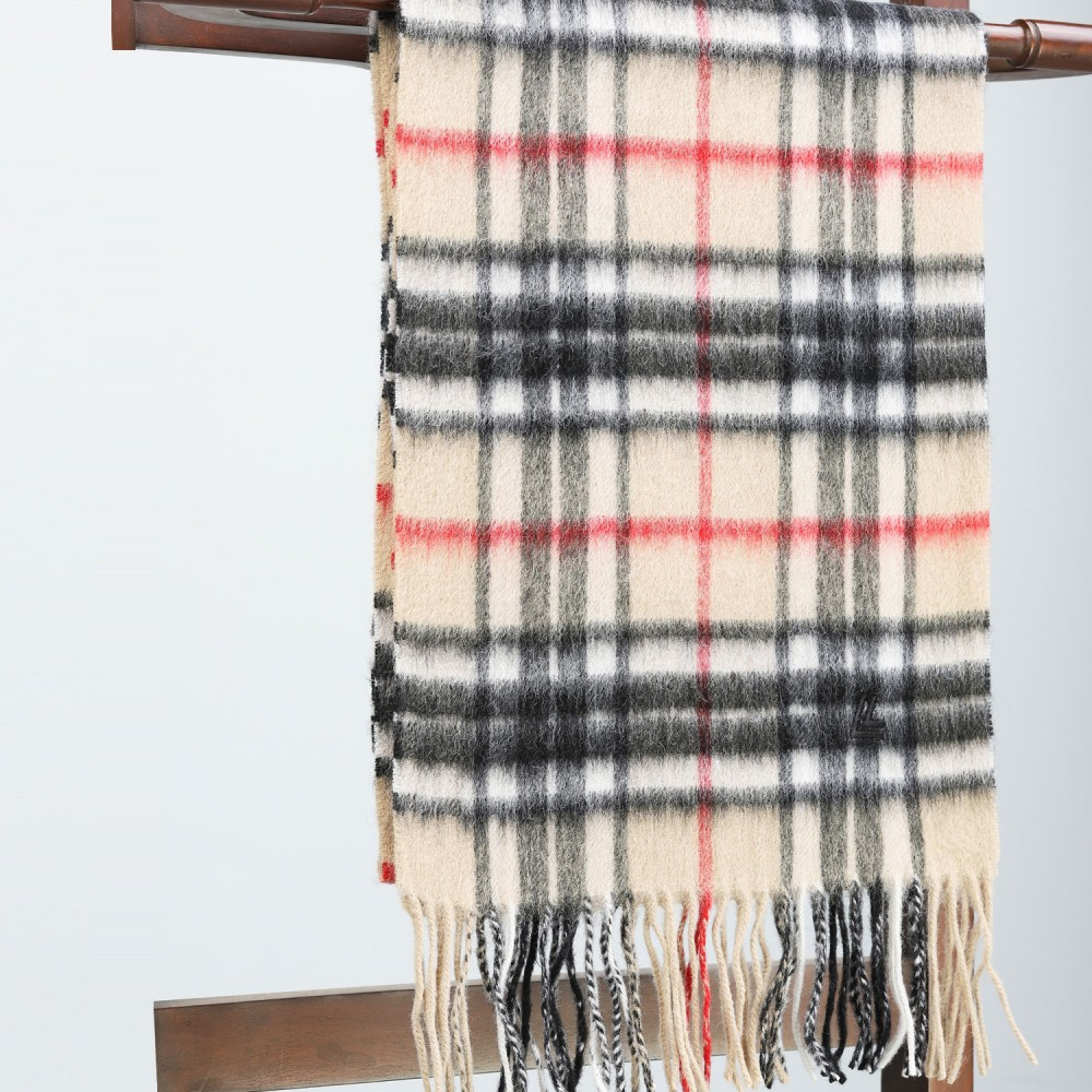 Beige & Black Check Scarf