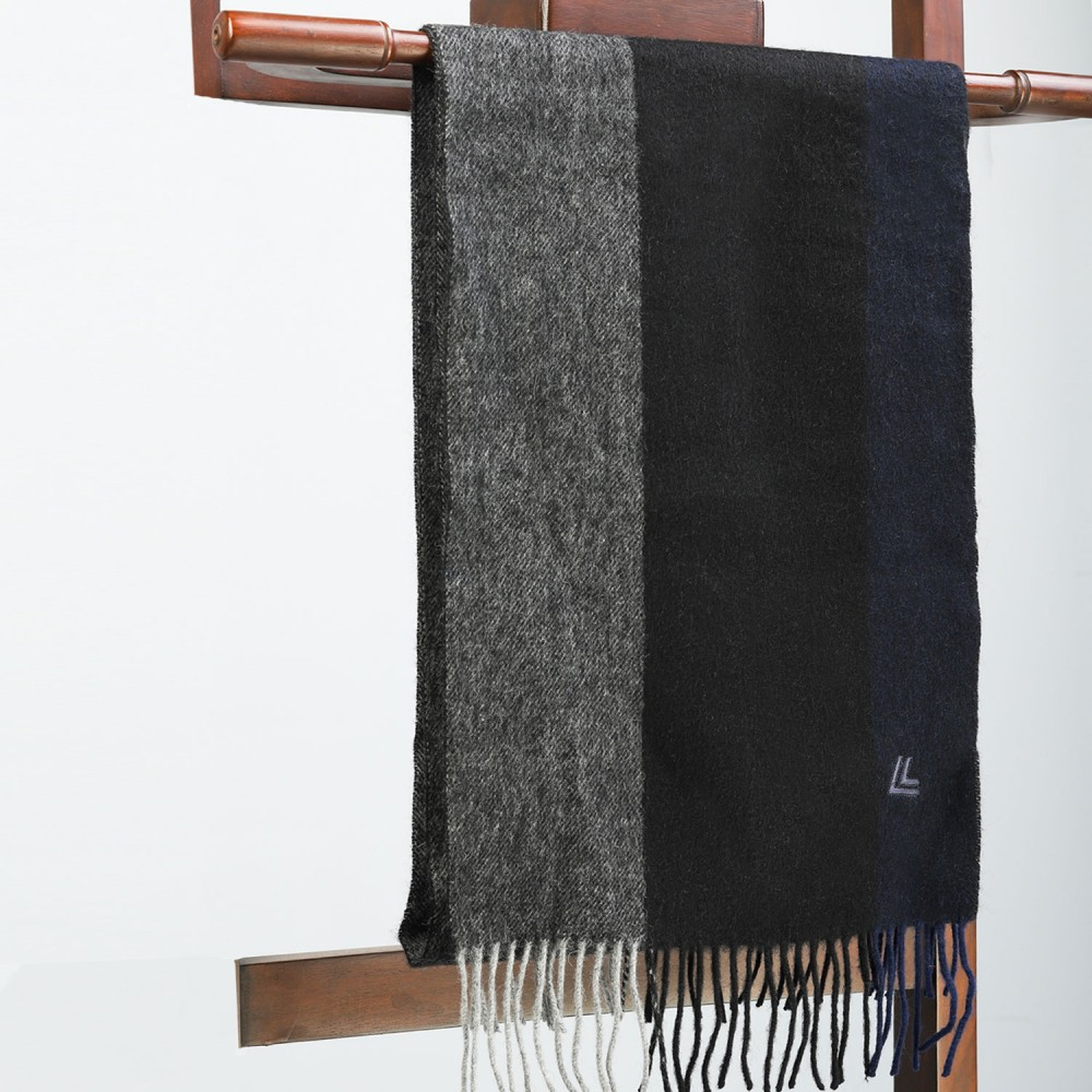 Black Grey Plain Scarf
