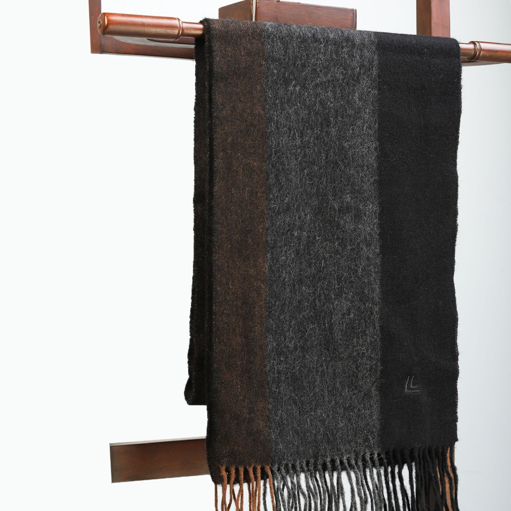 Black Grey & Brown Plain Scarf