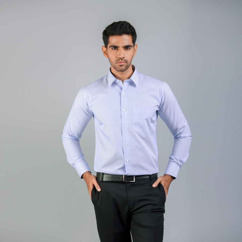 Blue Pin Stripes Formal Shirt