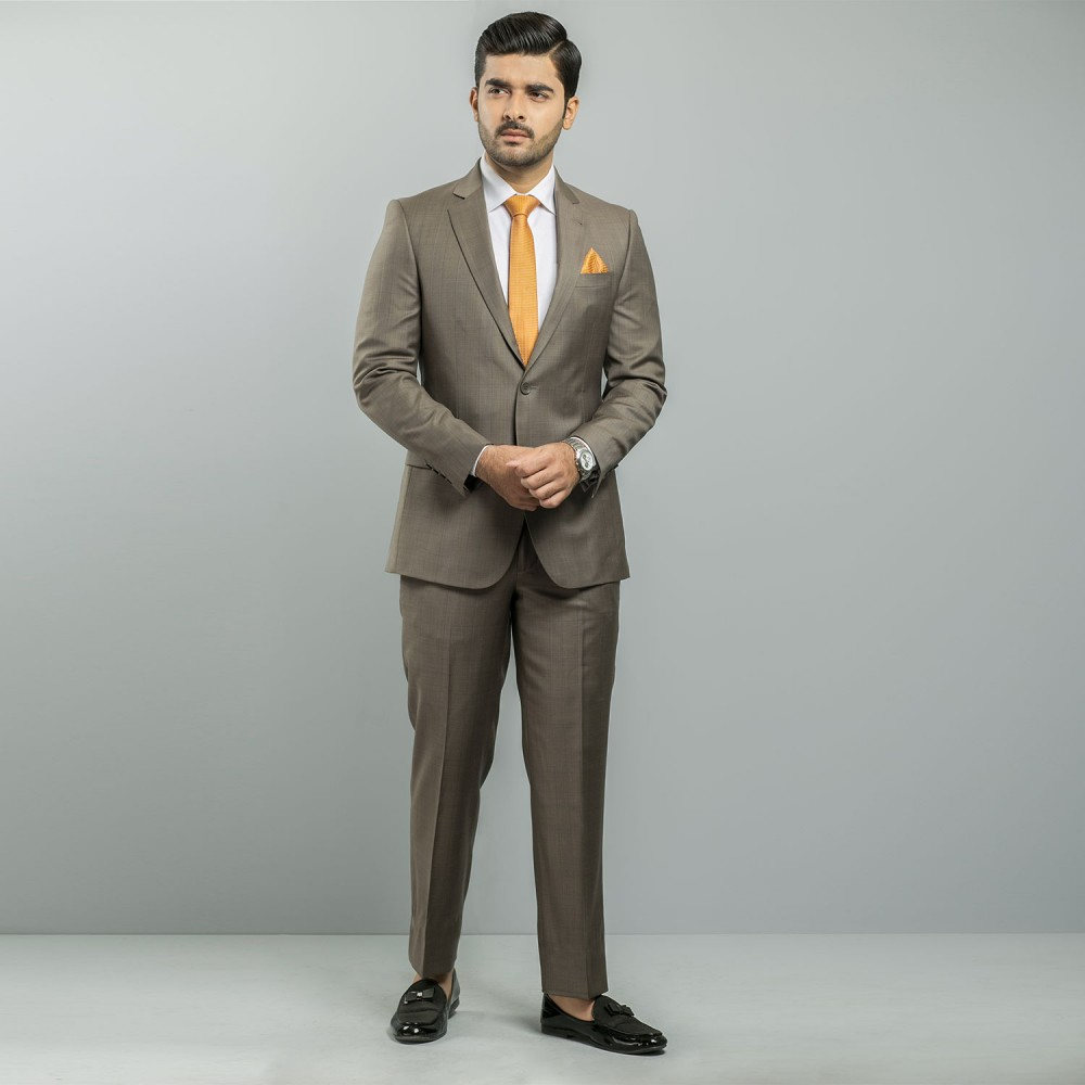 Taupe Glen Plaid Ivory Premium Suit