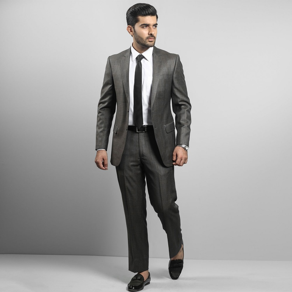 Brown Glen Plaid Ivory Premium Suit