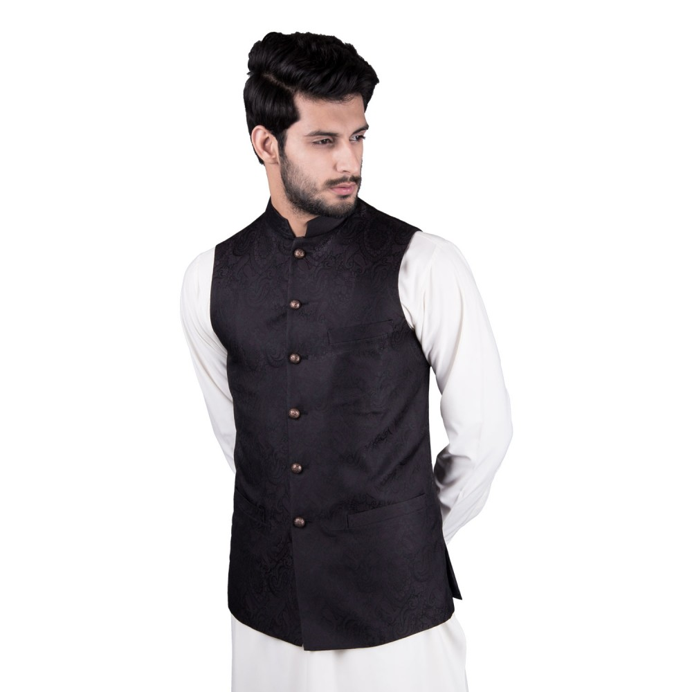 Waist Coat - Jamawar Black Design