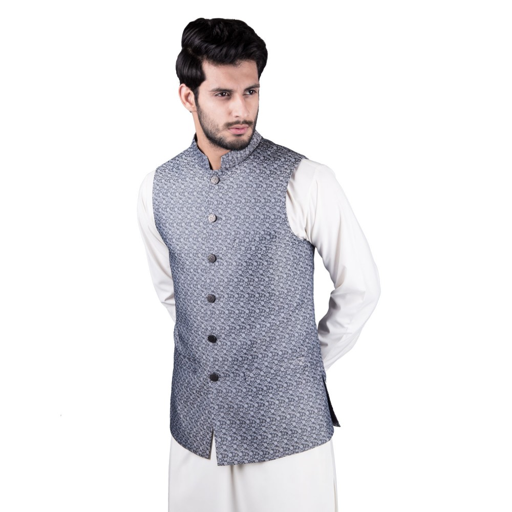 Waist Coat - Jamawar Grey Design