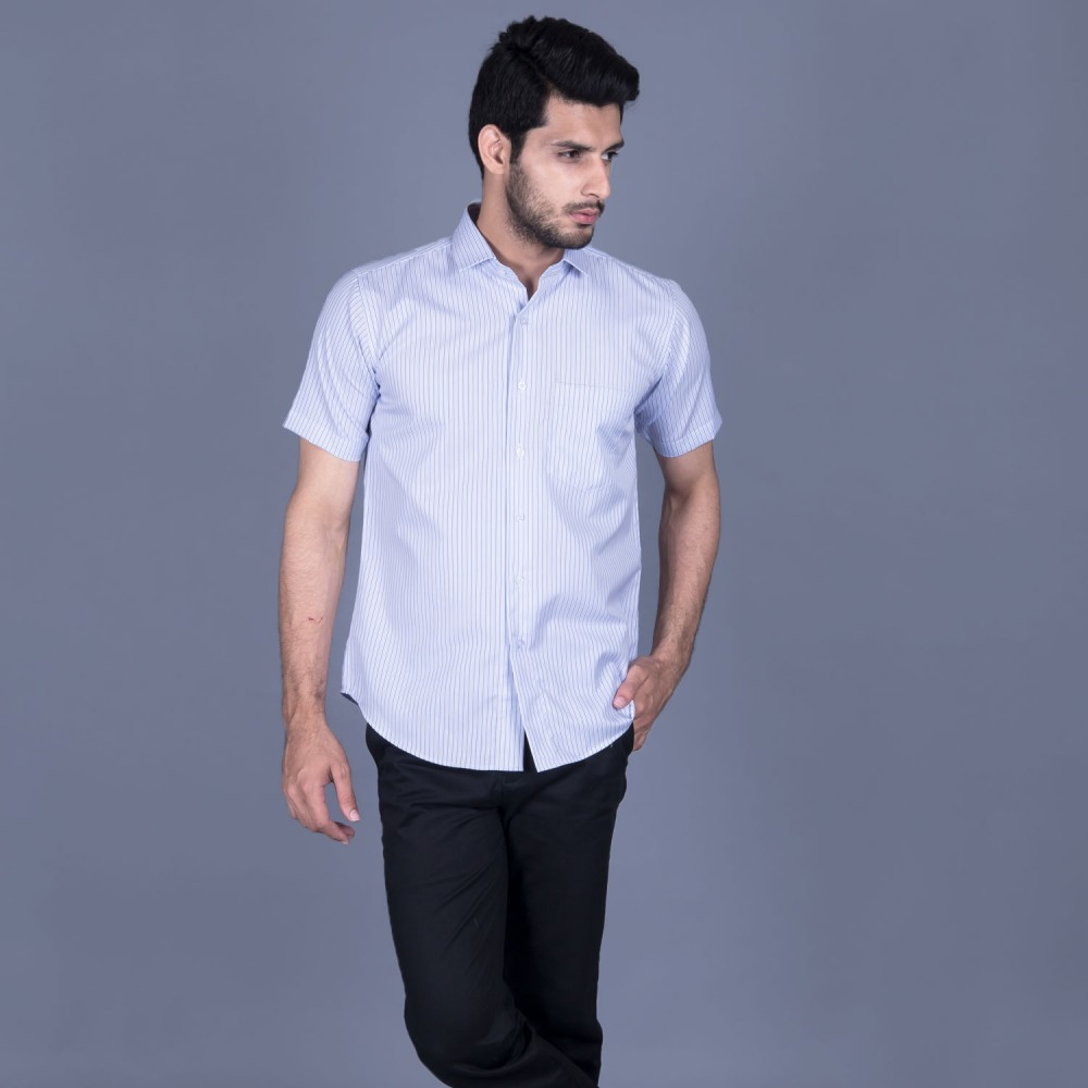 Half Sleeves Shirt - Delta-1 White Stripes-SR48