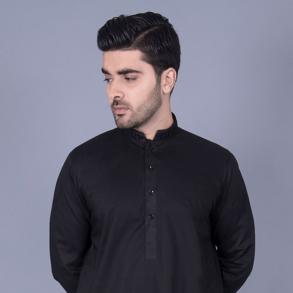 Shalwar Kameez Embroidered - Luxury Egyptian Cotton Black