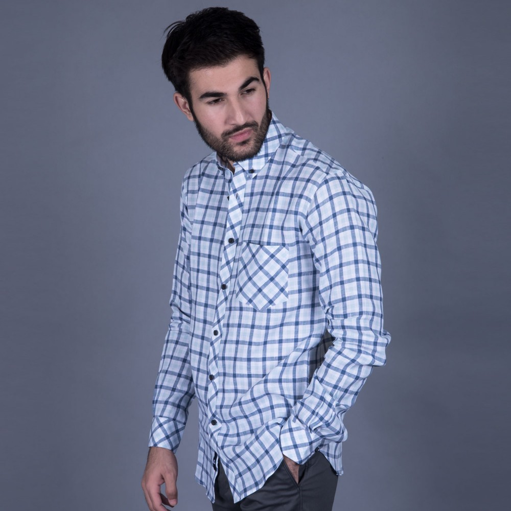 Grey Checks Linen Casual Shirt