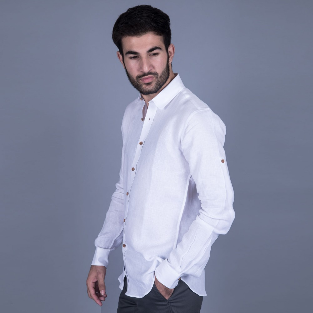 White Checks Linen Casual Shirt