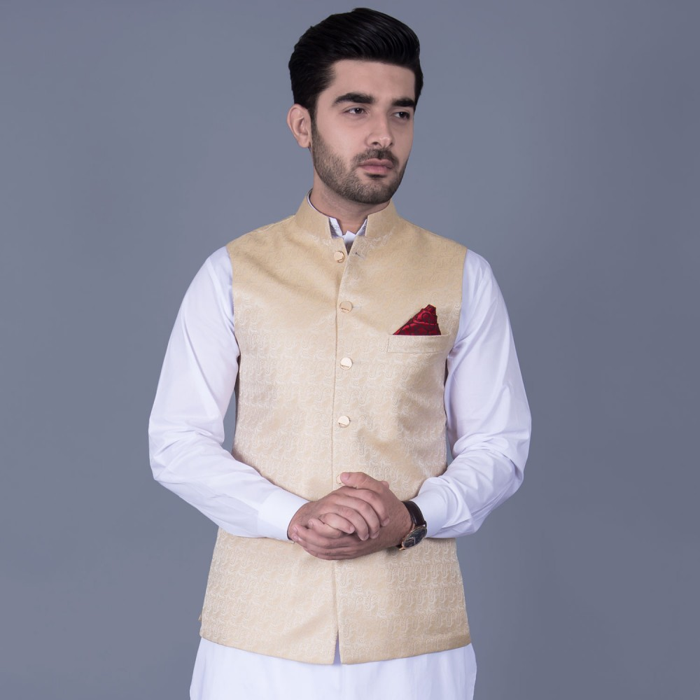 Jamawar Waist Coat in Gold Self Design