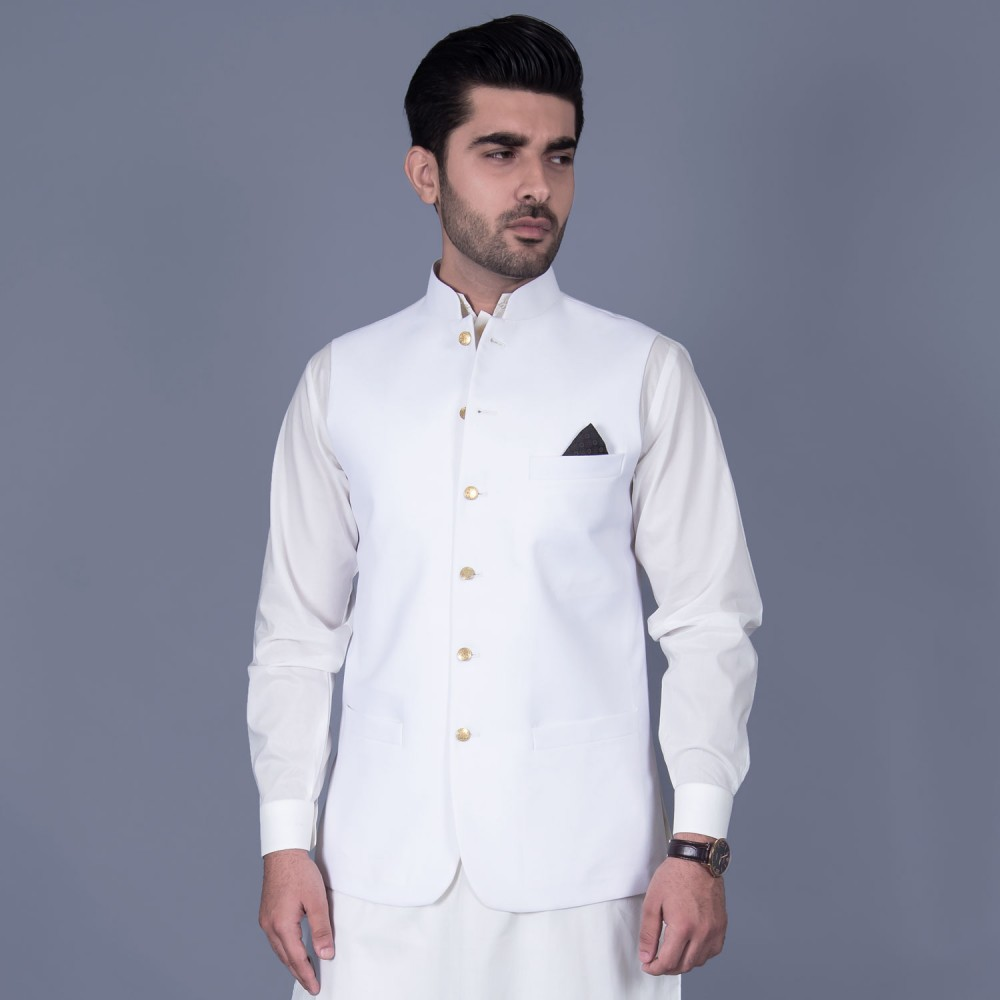 Panama Classic Waist Coat in Plain White