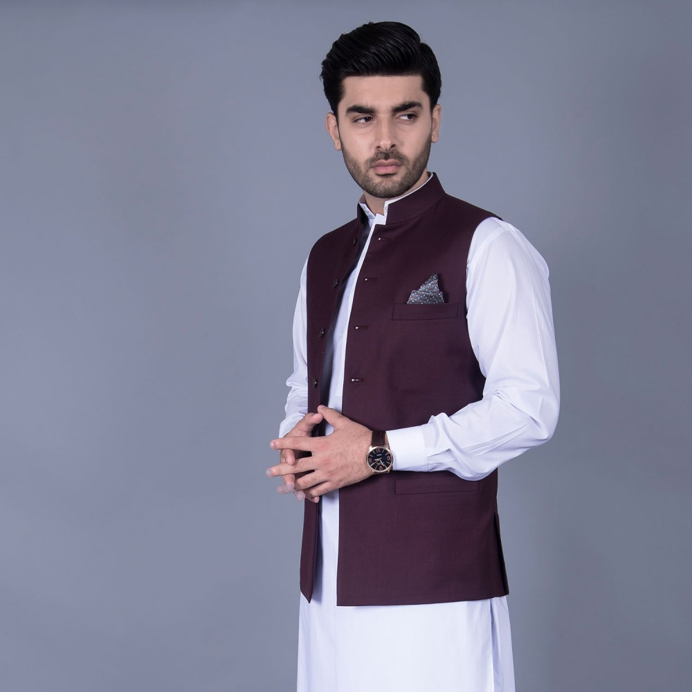 Poly Viscose Plain Maroon Waist Coat