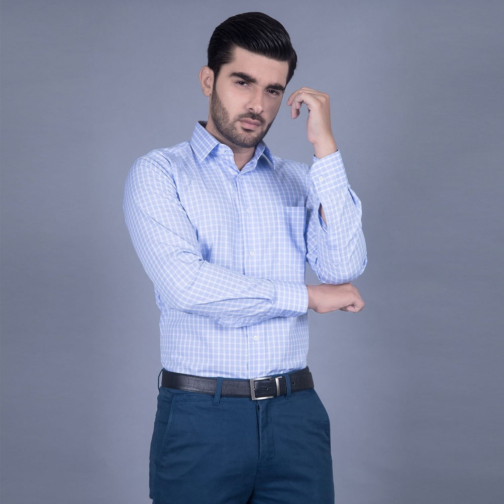 Formal Poly Cotton Shirt in Blue Window Pane Checks