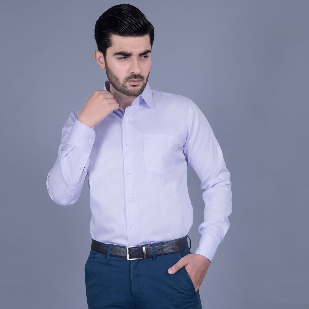 Formal Poly Cotton Shirt in Lilac Self Stripes