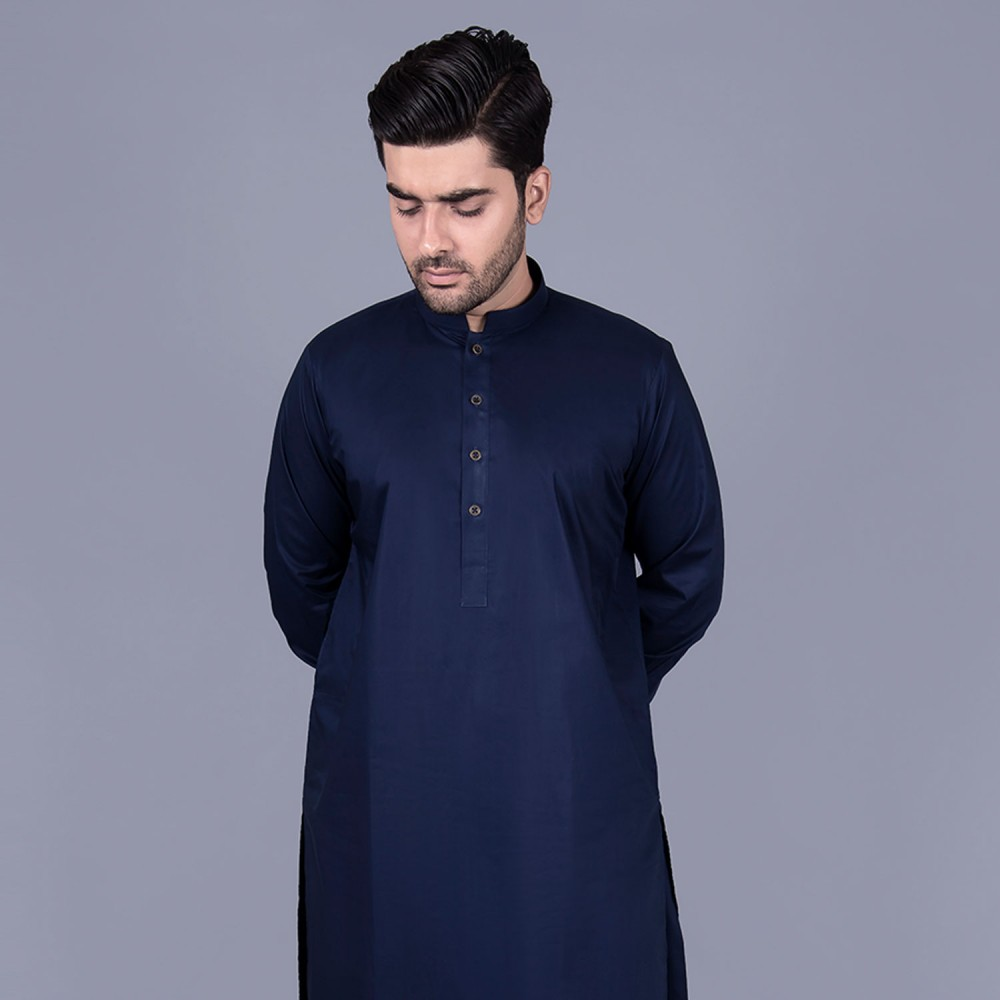 Egyptian Cotton Shalwar Kameez in Plain Navy Blue