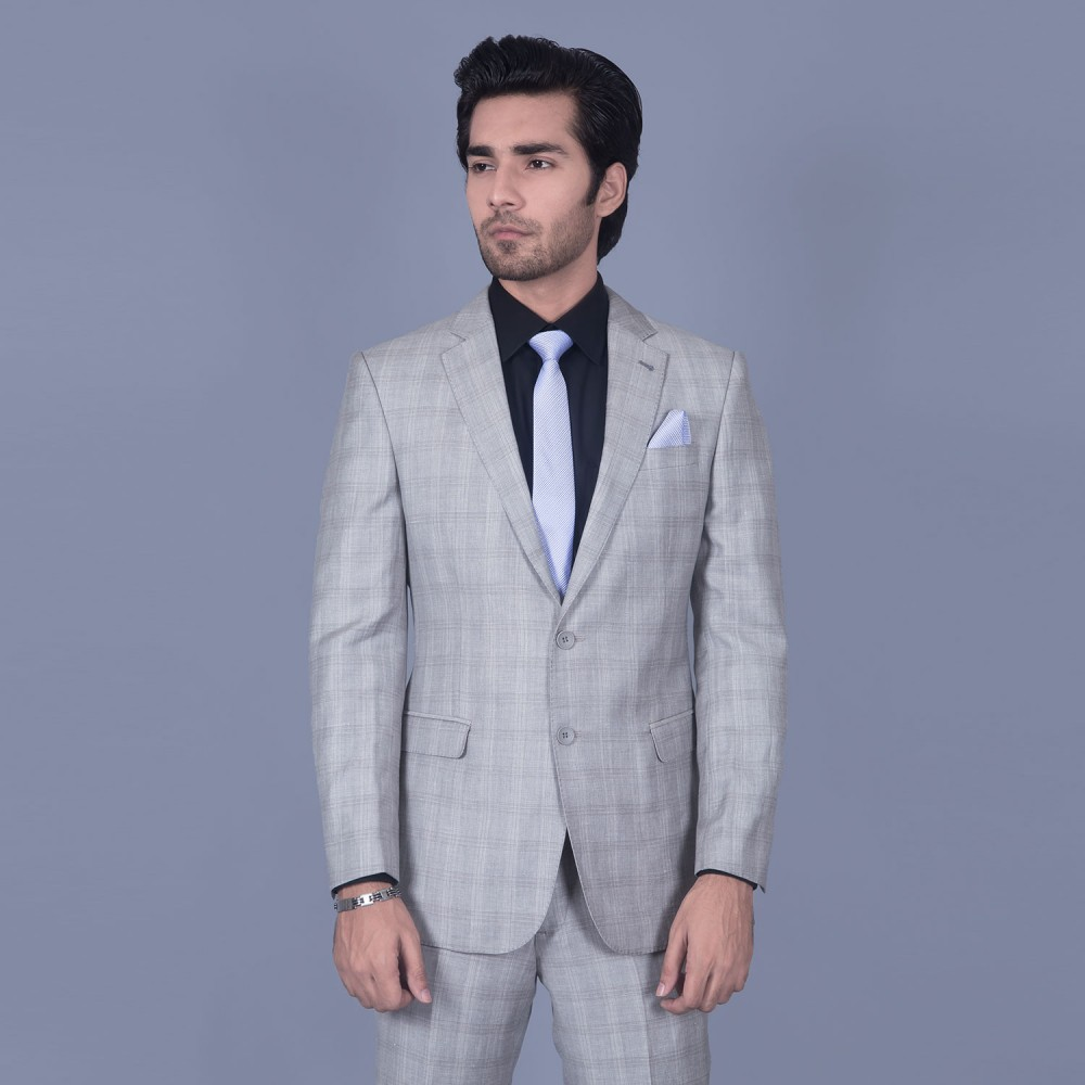 Glen Plaid Broad Checks - Light Grey Linwool Jacket