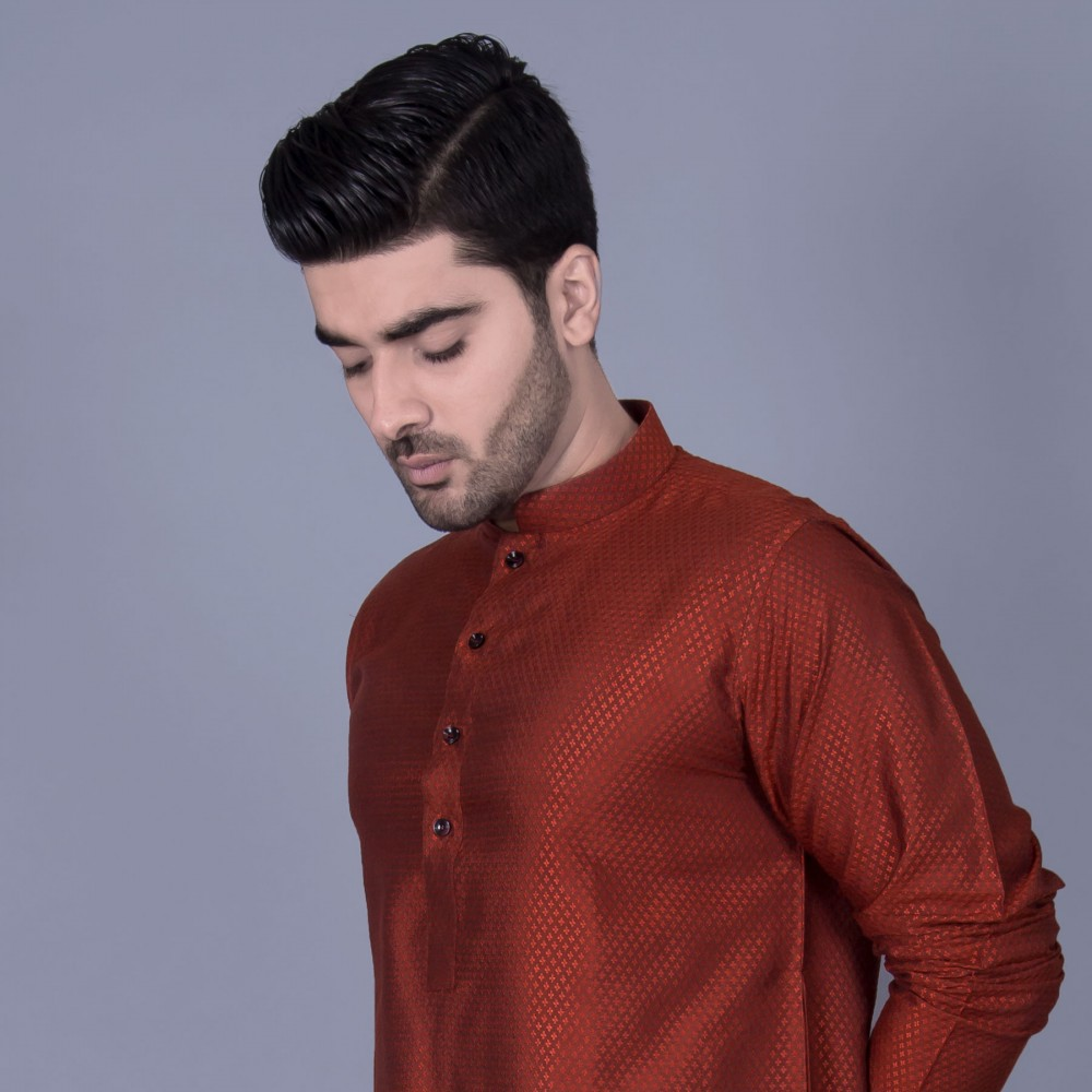 Jamawar Kurta in Orange Diamond Self Texture