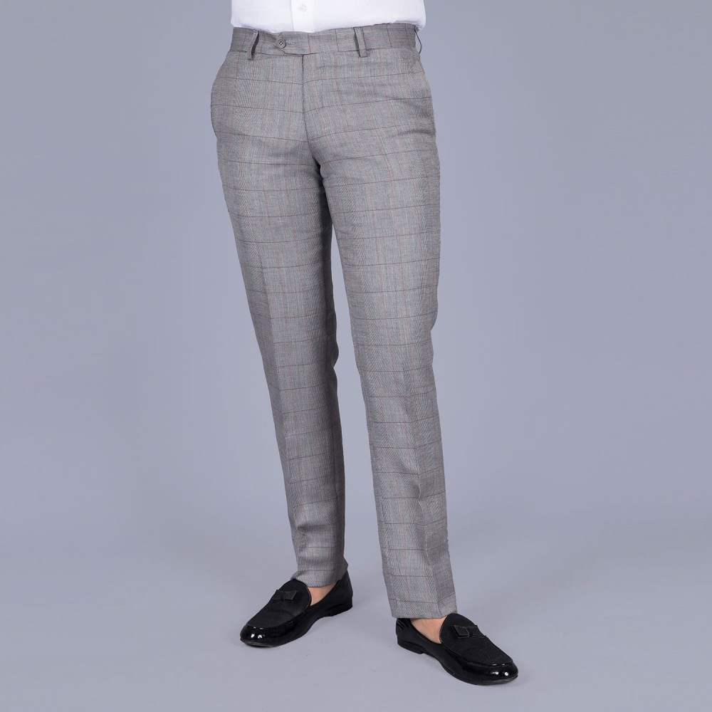 Glen Plaid Broad Checks - Light Grey Linwool Trouser