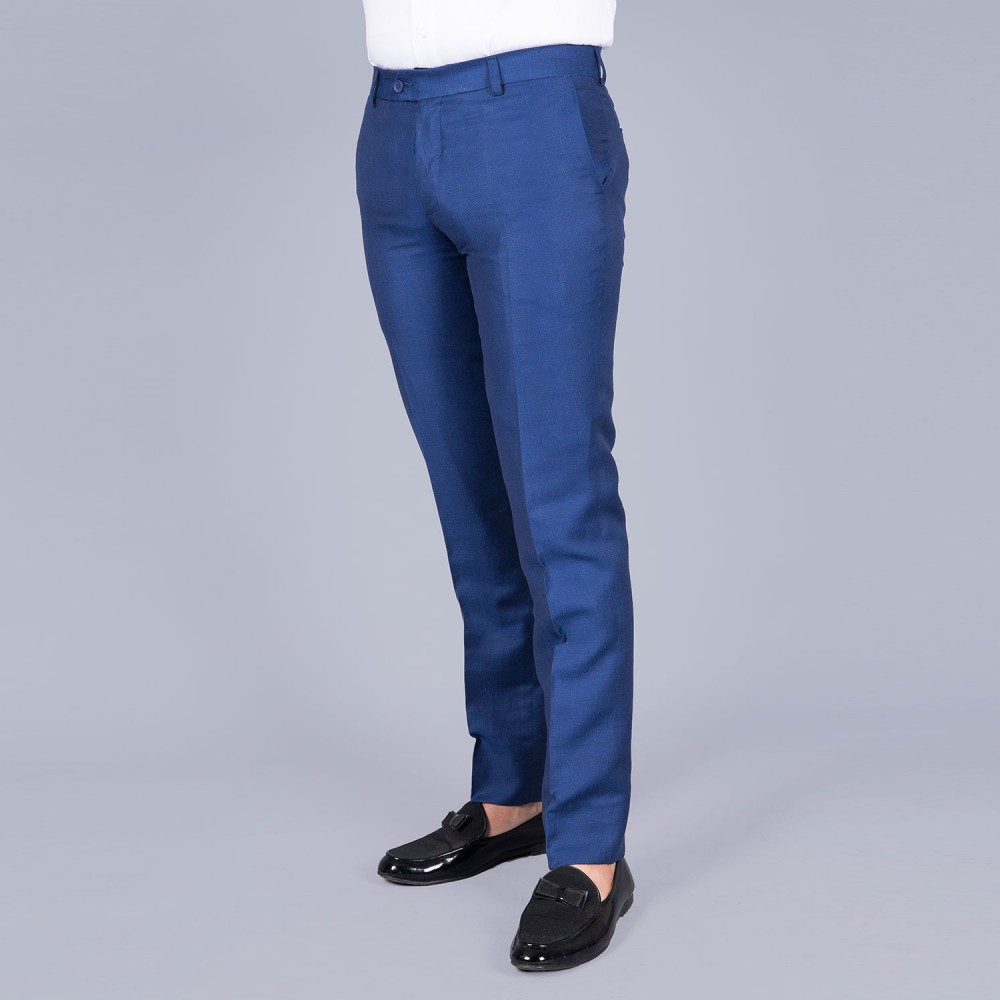 Plain Royal Blue Linwool Trouser