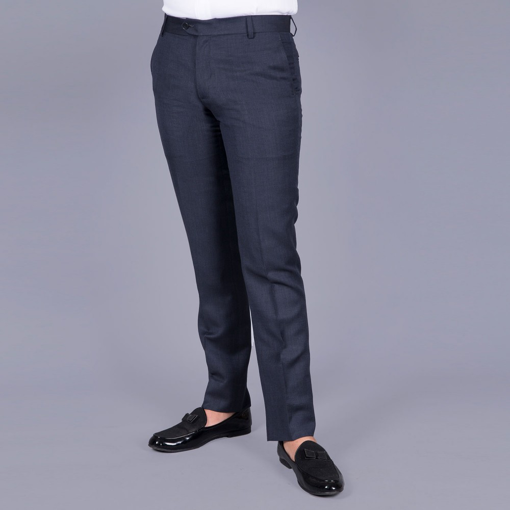 Plain Midnight-Blue Linwool Trouser