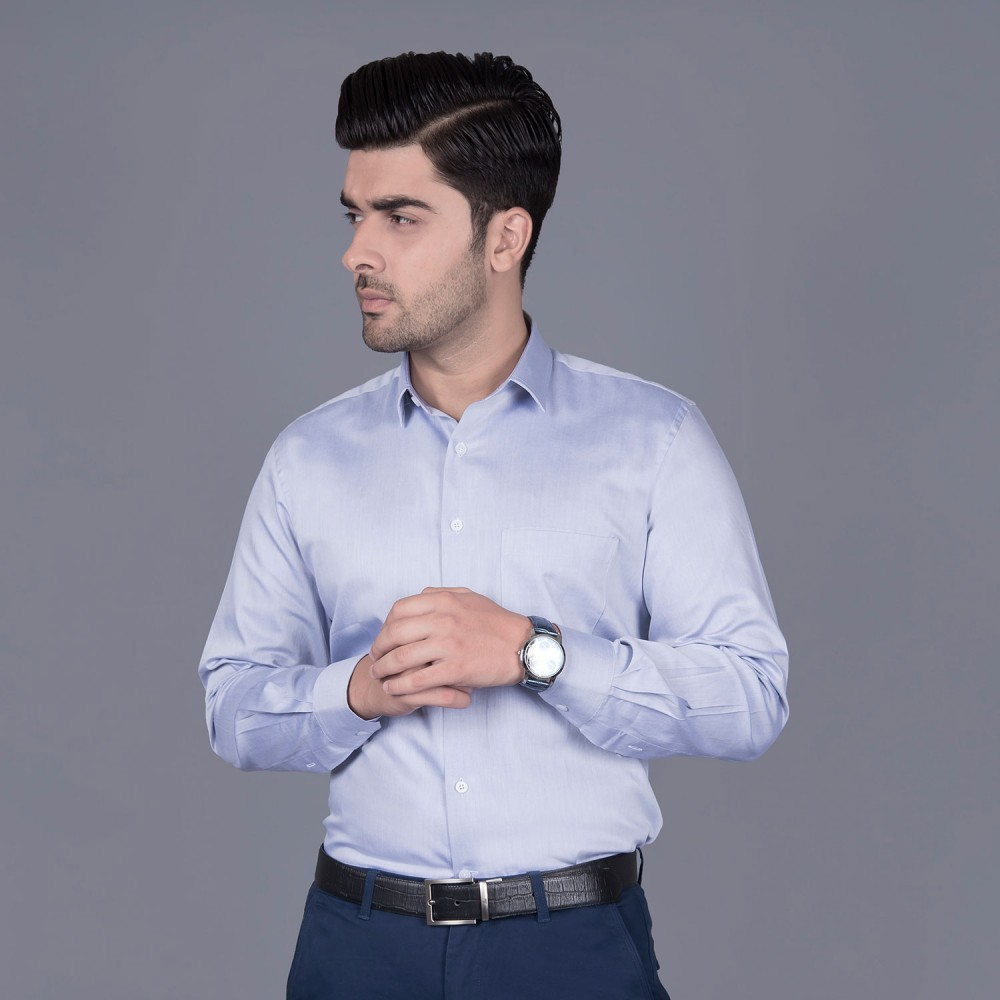Plain Twill Light Blue, 100% Super Fine Cotton, Premium Formal Shirt