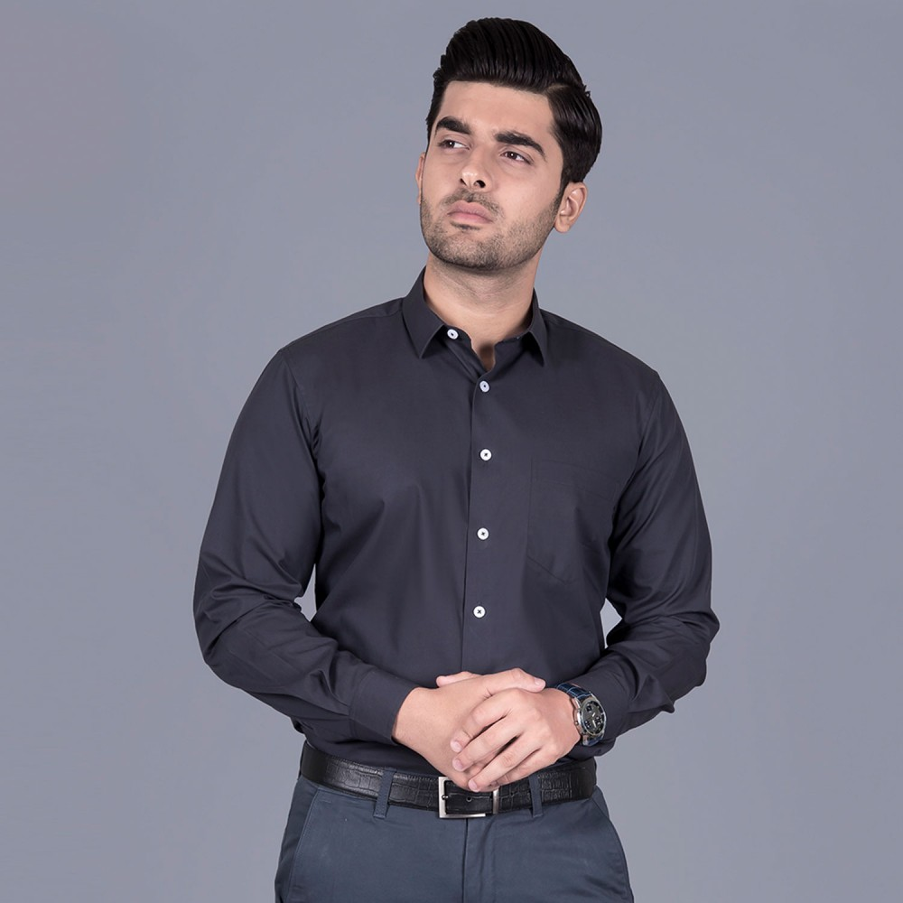 Plain Charcoal Grey, 100% Super Fine Cotton, Premium Formal Shirt