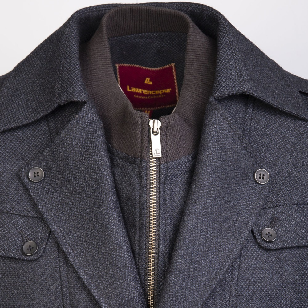 Blue Self Check, Wool Rich - Worsted Tweed Double Jacket