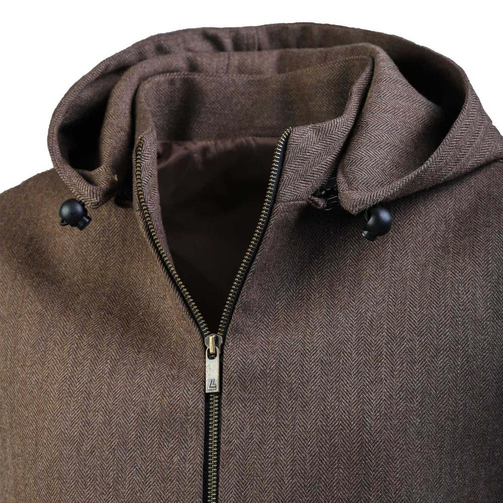 Brown Design, Wool Rich - Worsted Tweed High Neck Sleeveless Hoodies