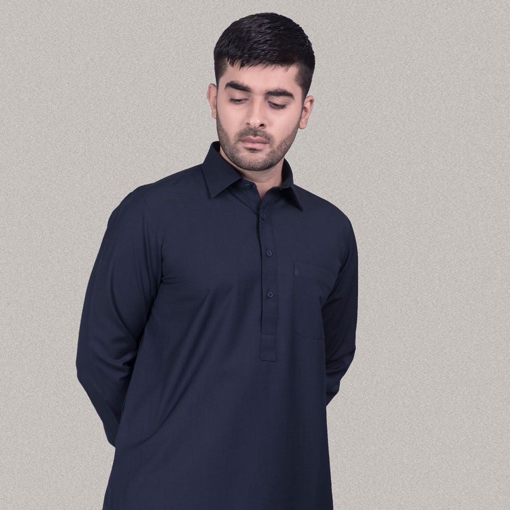 Dark Blue, End on End Textured, Poly Viscose Kashgar Shalwar Kameez